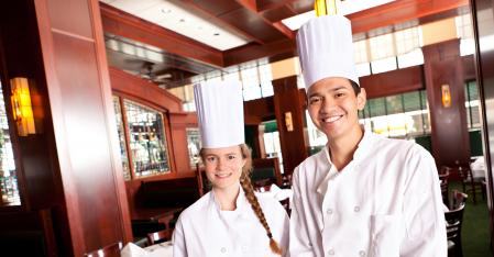 kitchen staff in restaurant
