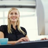 girl sitting at office desk